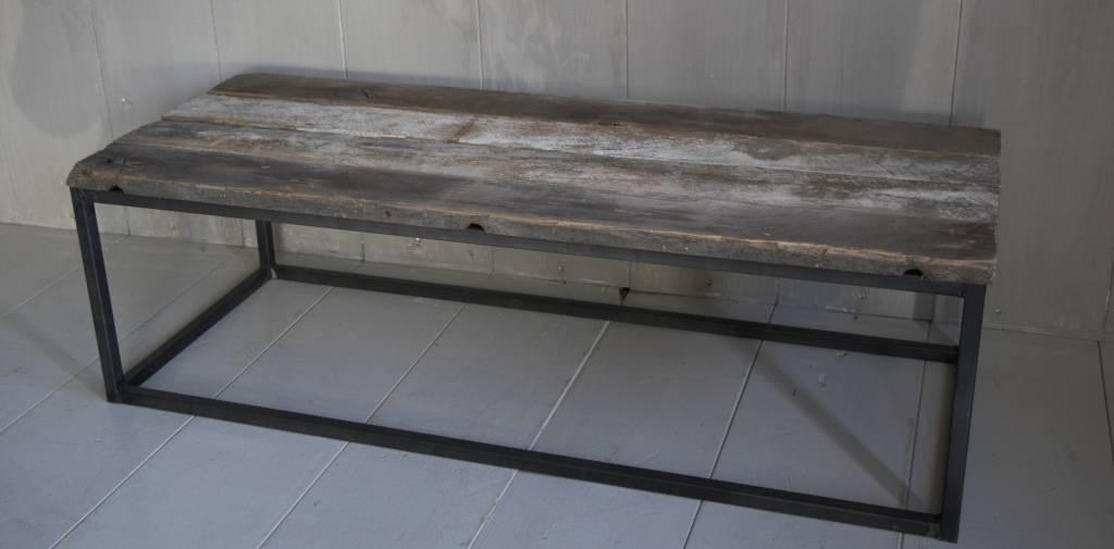 Salontafeltje oud donker eikenhout met ijzeren onderstel 112 cm-5