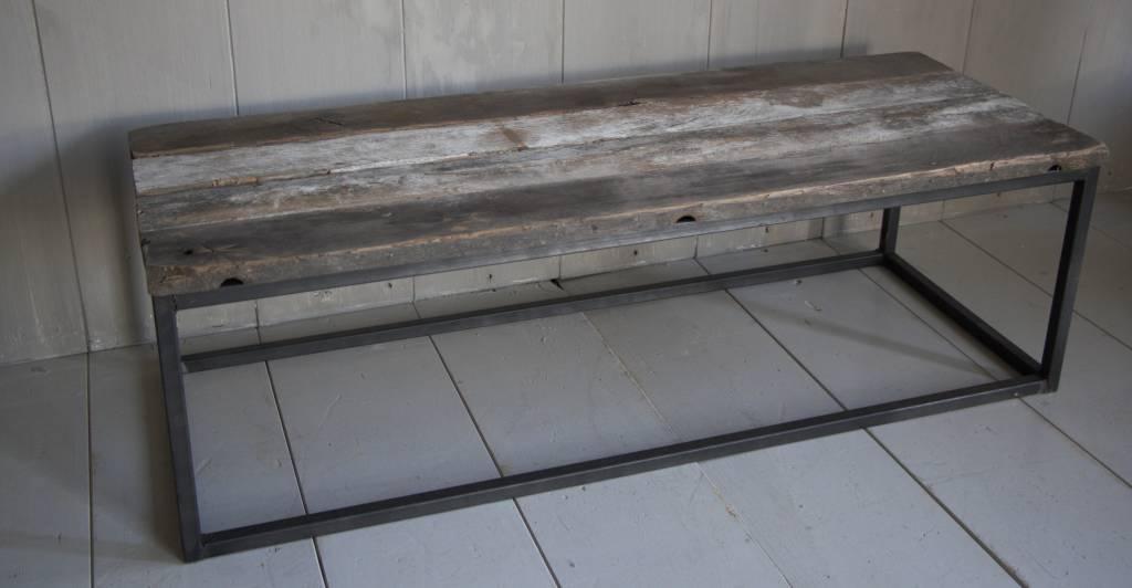 Salontafeltje oud donker eikenhout met ijzeren onderstel 112 cm-6