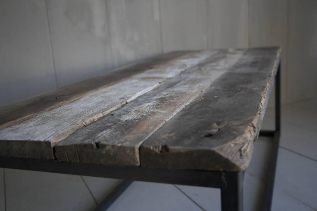 Salontafeltje oud donker eikenhout met ijzeren onderstel 112 cm-7