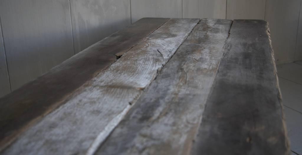Salontafeltje oud donker eikenhout met ijzeren onderstel 112 cm-8