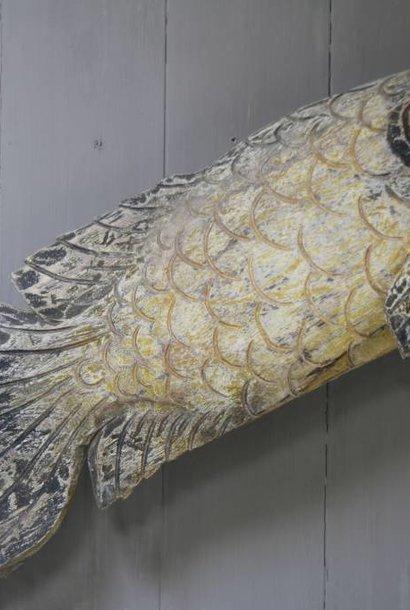 Houten vis wanddecoratie 110x40