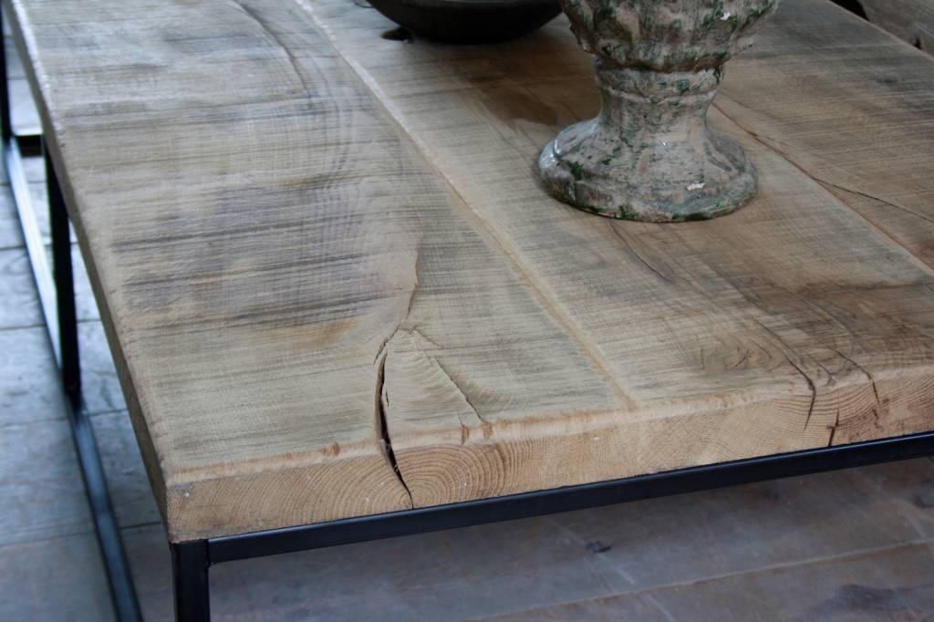Salontafel oud eikenhout met ijzeren onderstel 160 cm-3