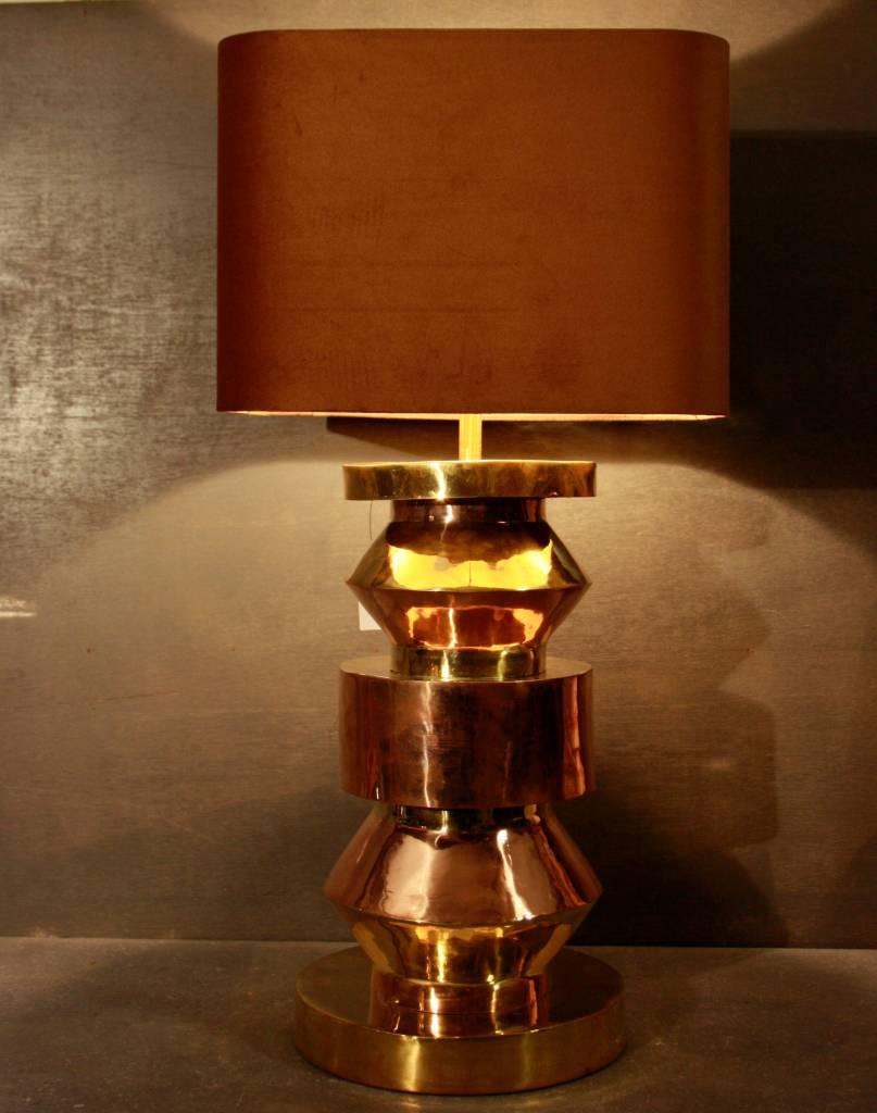 Goudkleurige schemerlamp Rich met velvet lampenkap-2