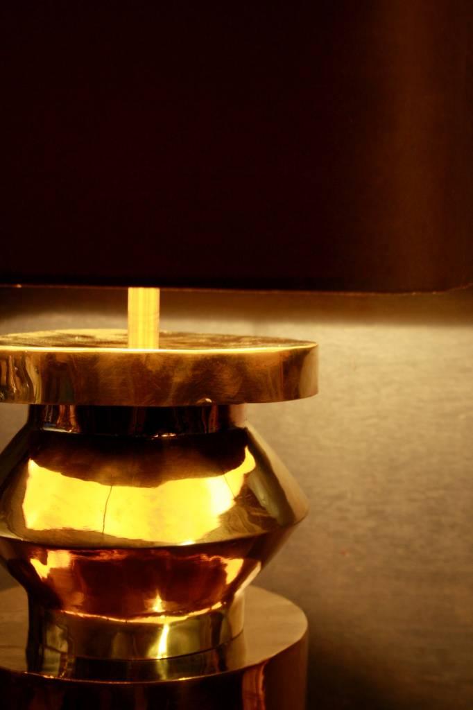 Goudkleurige schemerlamp Rich met velvet lampenkap-4