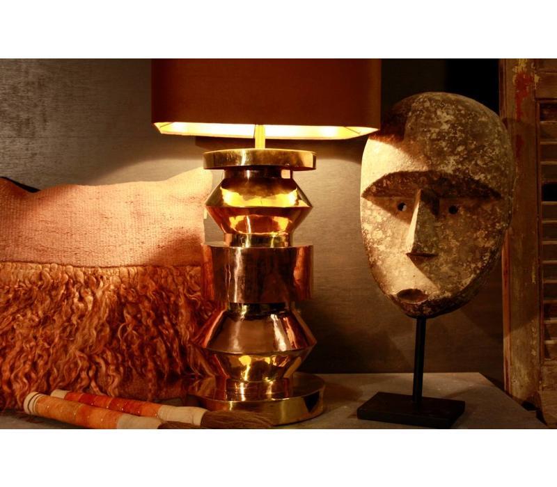 Goudkleurige schemerlamp Rich met velvet lampenkap