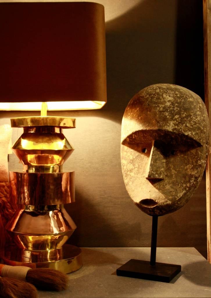 Goudkleurige schemerlamp Rich met velvet lampenkap-6
