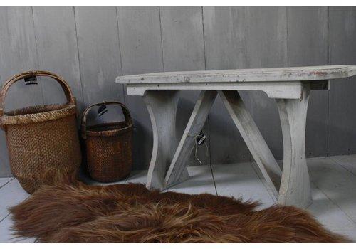 Grijs houten bankje 105 cm