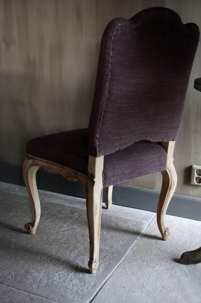 Barok stoeltje met paars linnen-2