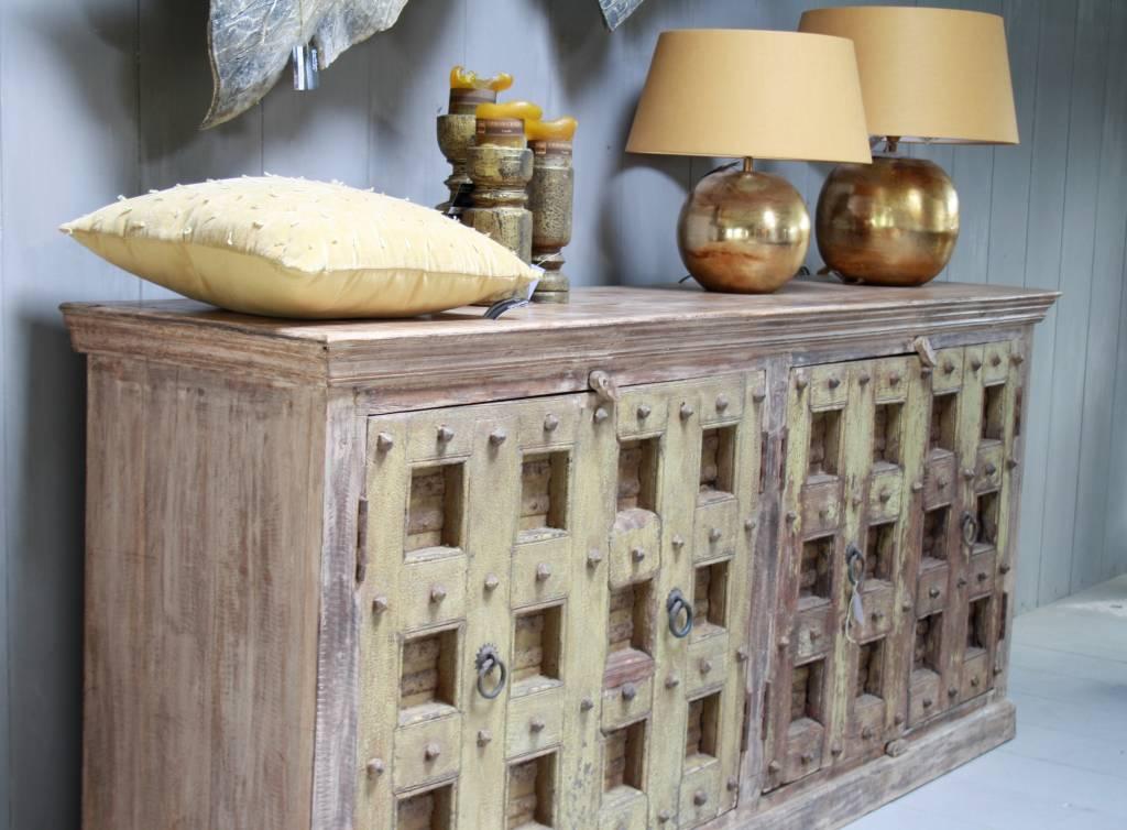 Robuust oud dressoir India met deurtjes 215 cm-3
