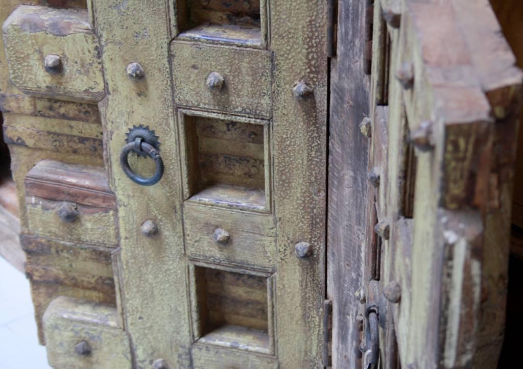 Robuust oud dressoir India met deurtjes 215 cm-4