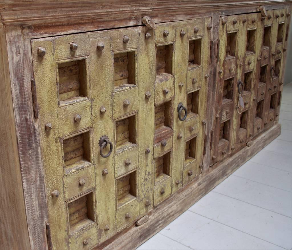 Robuust oud dressoir India met deurtjes 215 cm-2
