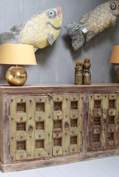 Robuust oud dressoir India met deurtjes 215 cm