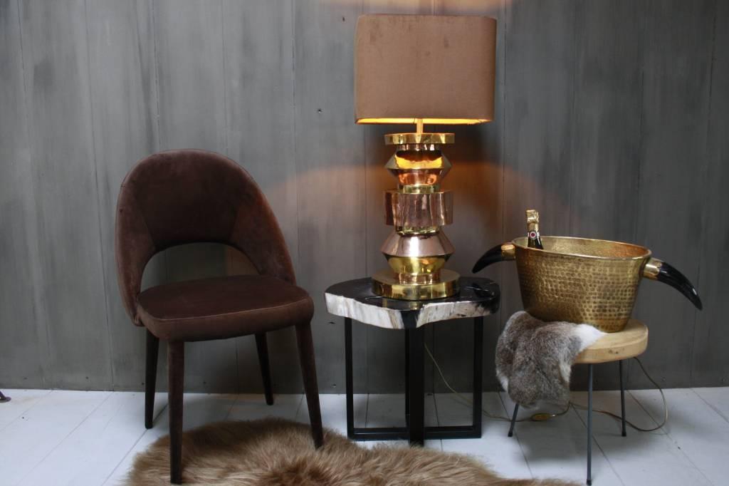 Goudkleurige schemerlamp Rich met velvet lampenkap-1