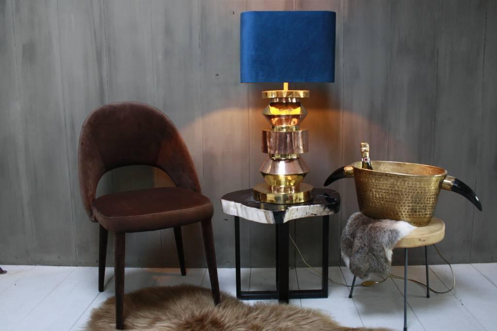 Blauwe schemerlamp Rich met velvet lampenkap en koperen voet-1