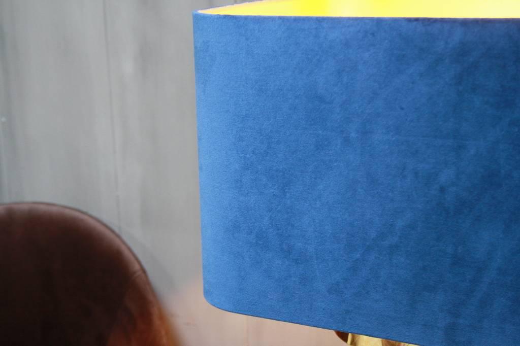 Blauwe schemerlamp Rich met velvet lampenkap en koperen voet-2