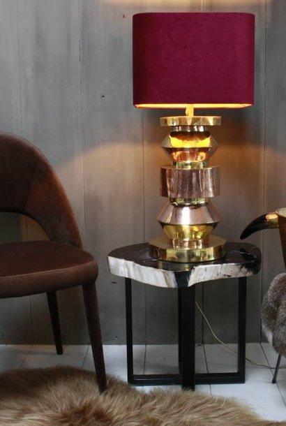 Bordeaux schemerlamp Rich met velvet lampenkap en koperen voet