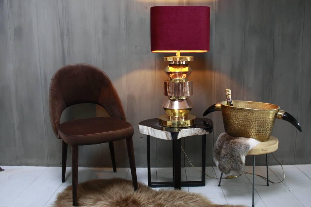 Bordeaux schemerlamp Rich met velvet lampenkap en koperen voet-1