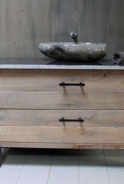 *Verkocht Badkamermeubel Hardsteen/eikenhout 140 cm