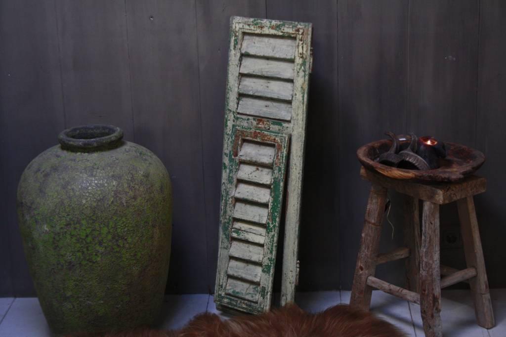 Brocante oud houten Frans luik Groen 100 x 32 cm-1