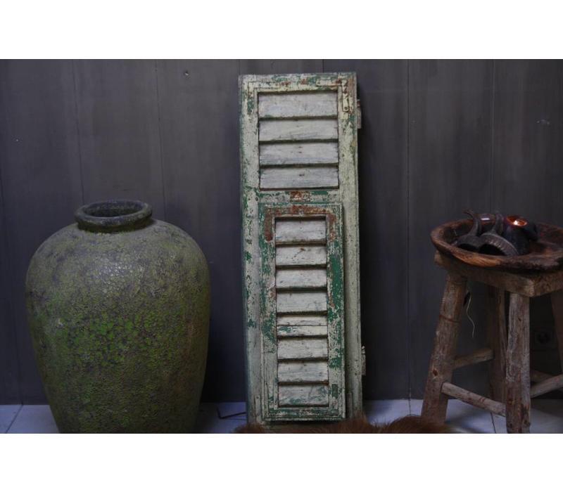 Brocante oud houten Frans luik Groen 100 x 32 cm