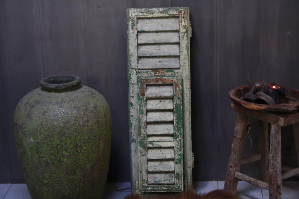 Brocante oud houten Frans luik Groen 100 x 32 cm-2