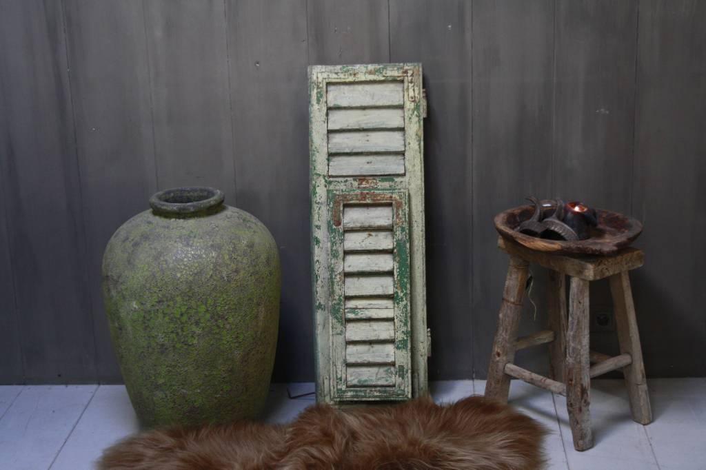 Brocante oud houten Frans luik Groen 100 x 32 cm-3