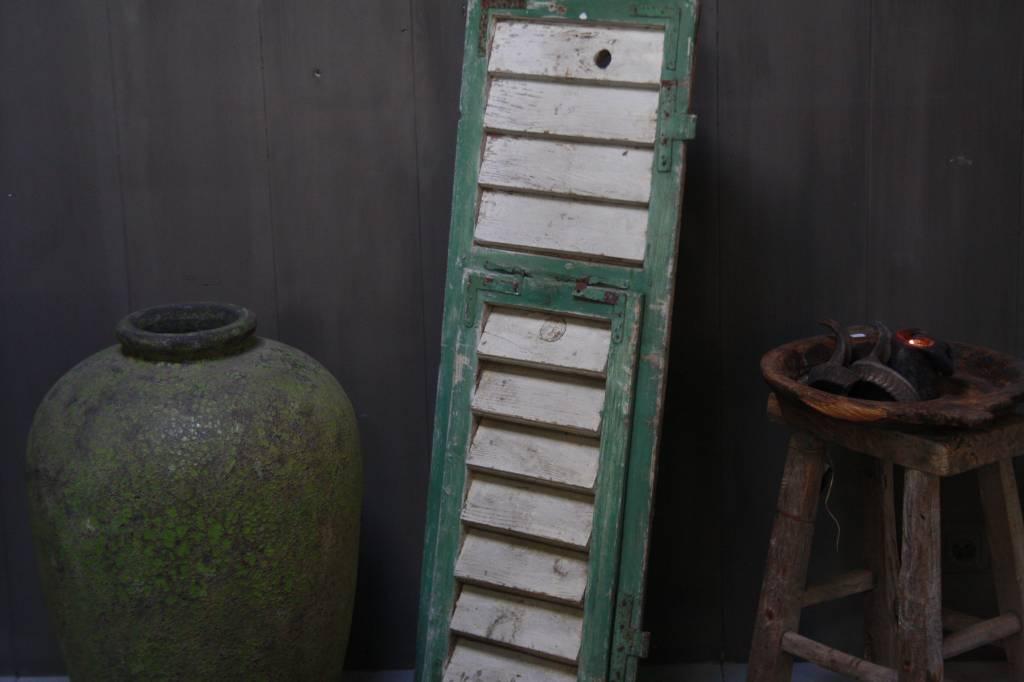 Brocante oud houten Frans luik groen/wit 113 x 42 cm-2