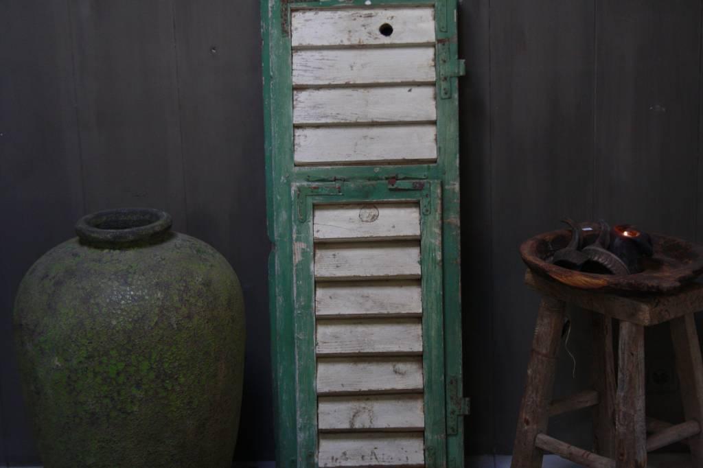 Brocante oud houten Frans luik groen/wit 113 x 42 cm-3