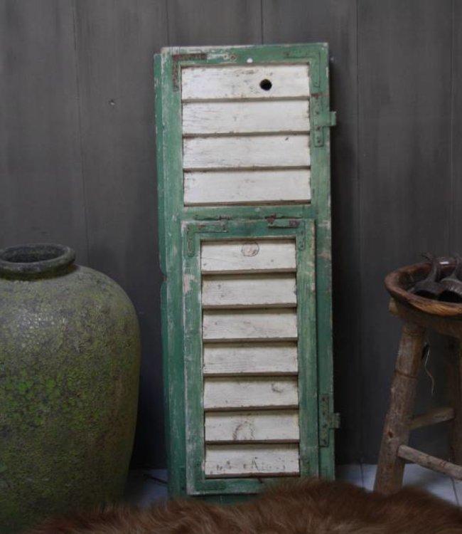 Brocante oud houten Frans luik groen/wit 113 x 42 cm