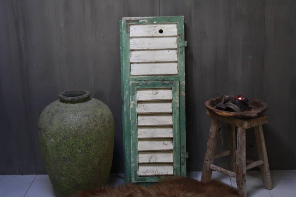 Brocante oud houten Frans luik groen/wit 113 x 42 cm-1