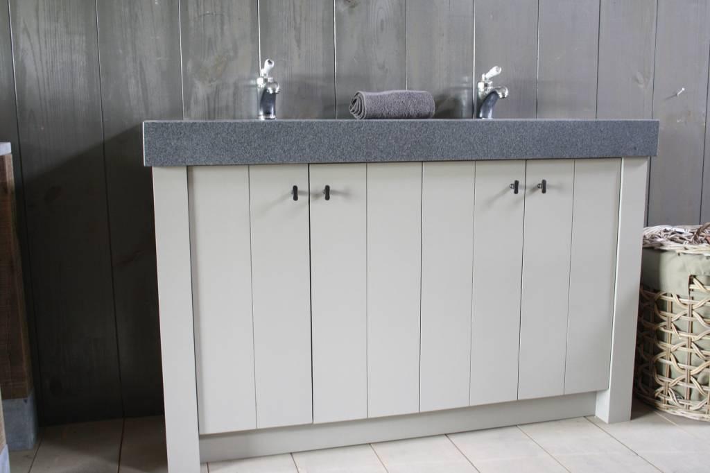 Landelijk badkamermeubel grijs met dubbele spoelbak graniet 140 cm-2