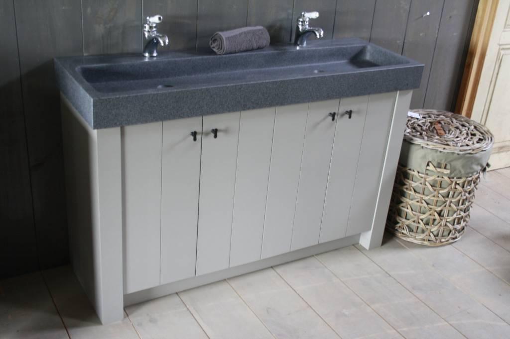 Landelijk badkamermeubel grijs met dubbele spoelbak graniet 140 cm-3