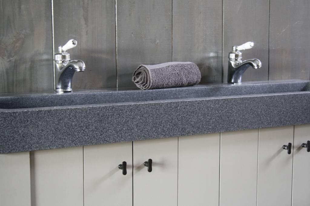 Landelijk badkamermeubel grijs met dubbele spoelbak graniet 140 cm-4
