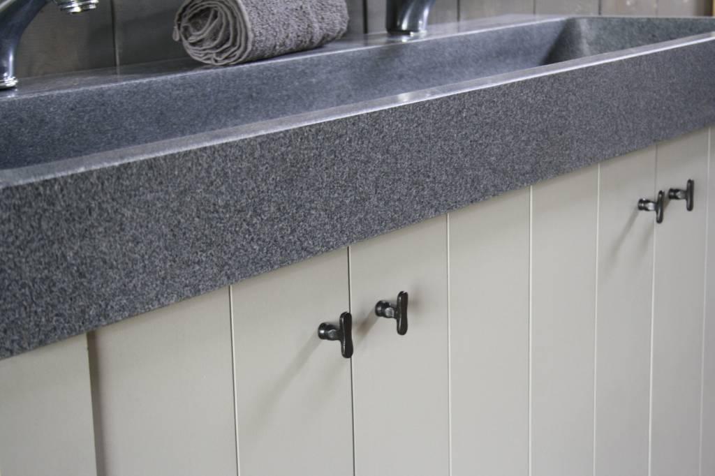 Landelijk badkamermeubel grijs met dubbele spoelbak graniet 140 cm-6