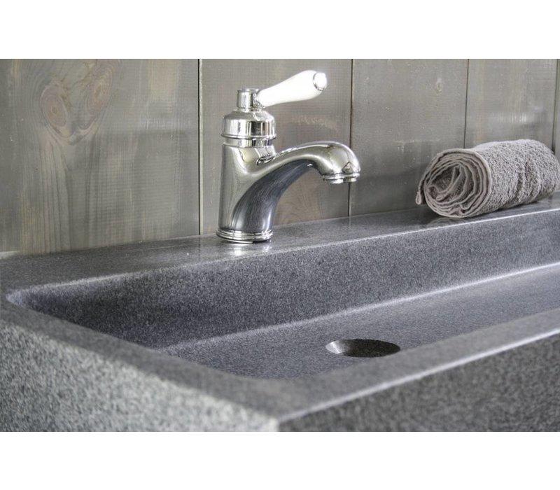 Landelijk badkamermeubel grijs met dubbele spoelbak graniet 140 cm