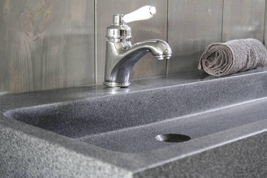 Landelijk badkamermeubel grijs met dubbele spoelbak graniet 140 cm-5