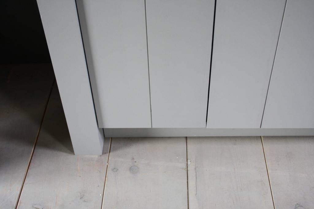 Landelijk badkamermeubel grijs met dubbele spoelbak graniet 140 cm-9
