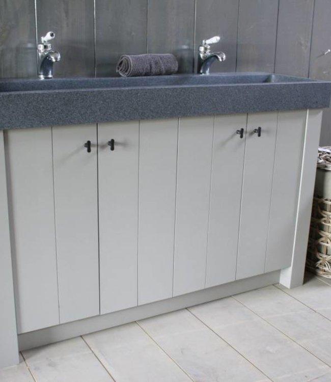 Landelijk badkamermeubel Dieke grijs met dubbele spoelbak graniet 140 cm