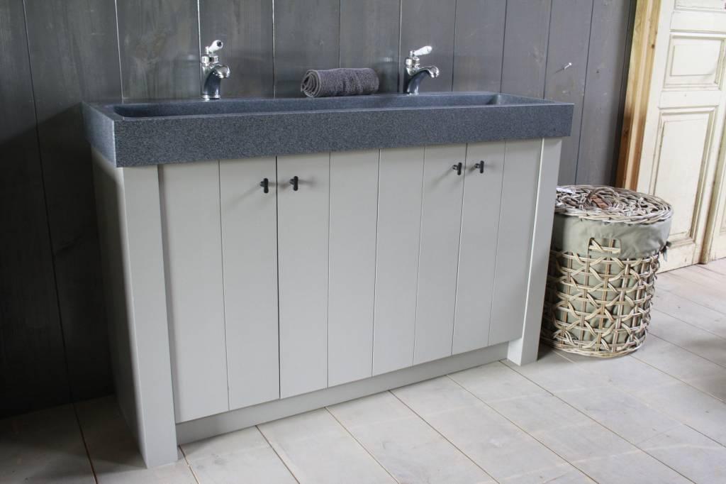 Landelijk badkamermeubel grijs met dubbele spoelbak graniet 140 cm-1