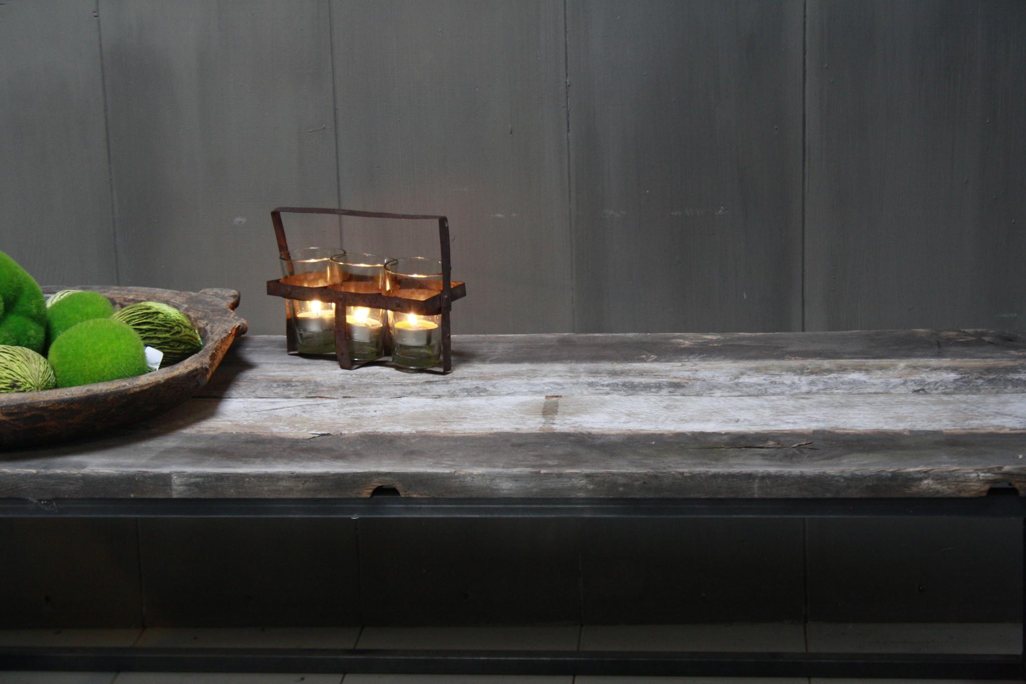 Salontafeltje oud donker eikenhout met ijzeren onderstel 112 cm-3