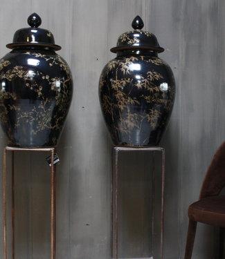 Hand beschilderde porseleinen Ralph Lauren vaas in zwart-goud 70 cm