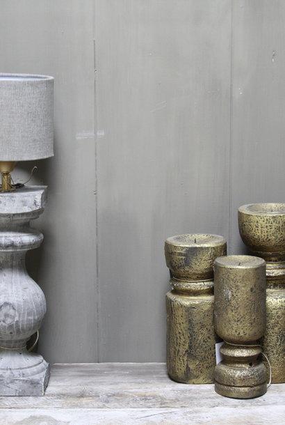 *Verkocht Aura peeperkorn grijs houten baluster lamp