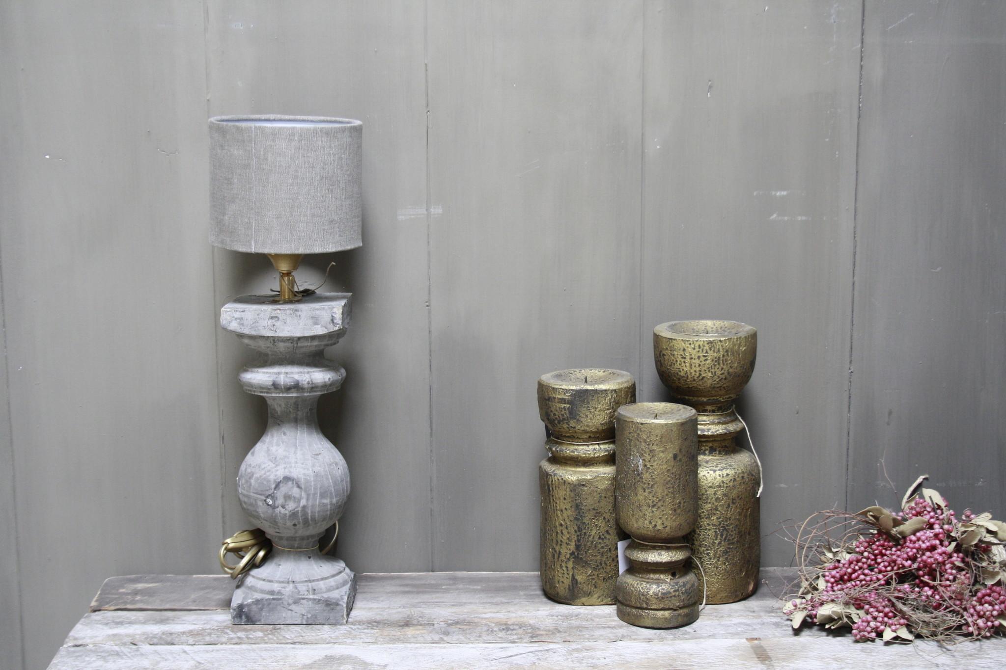 Aura peeperkorn grijs houten baluster lamp 42 cm-1