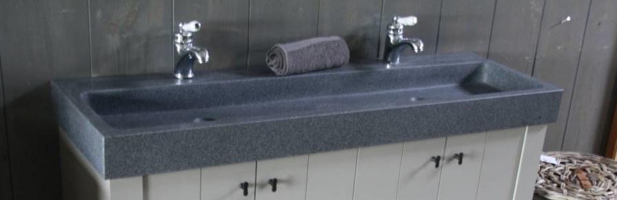 Granieten wastafel 140 cm met 2 kraangaten-3