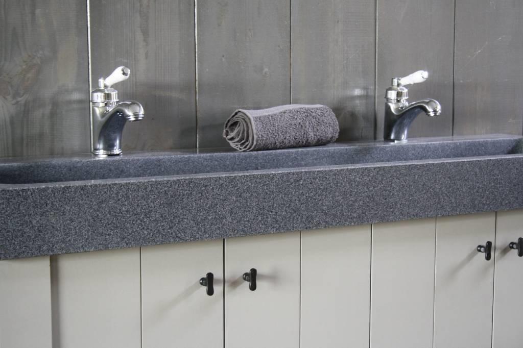 Granieten wastafel 140 cm met 2 kraangaten-4