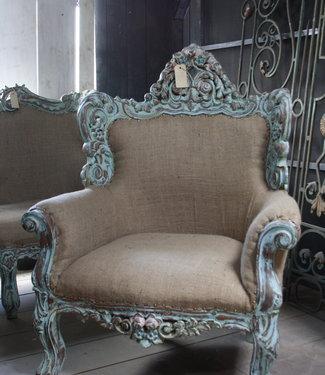 Fauteuil Ralph Lauren stijl stof met houtsnijwerk