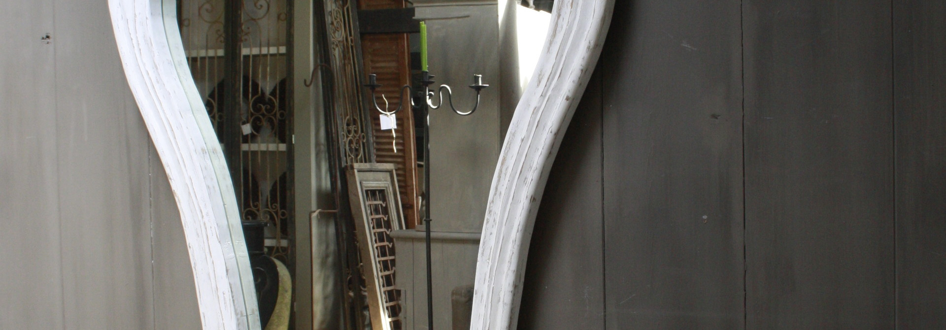 Garcia Sierspiegel  wit hout met kuif 180 cm