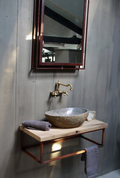 Zwevend badkamermeubel oud eikenhout  90 cm met rivierstenen waskom