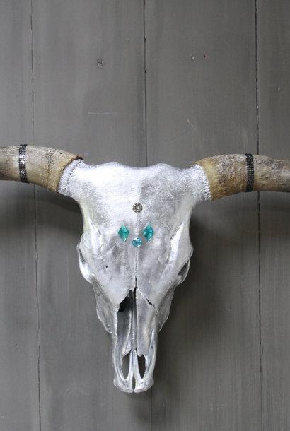 Longhorn Schedel Zilver Met Hoorns 100 x 43 cm