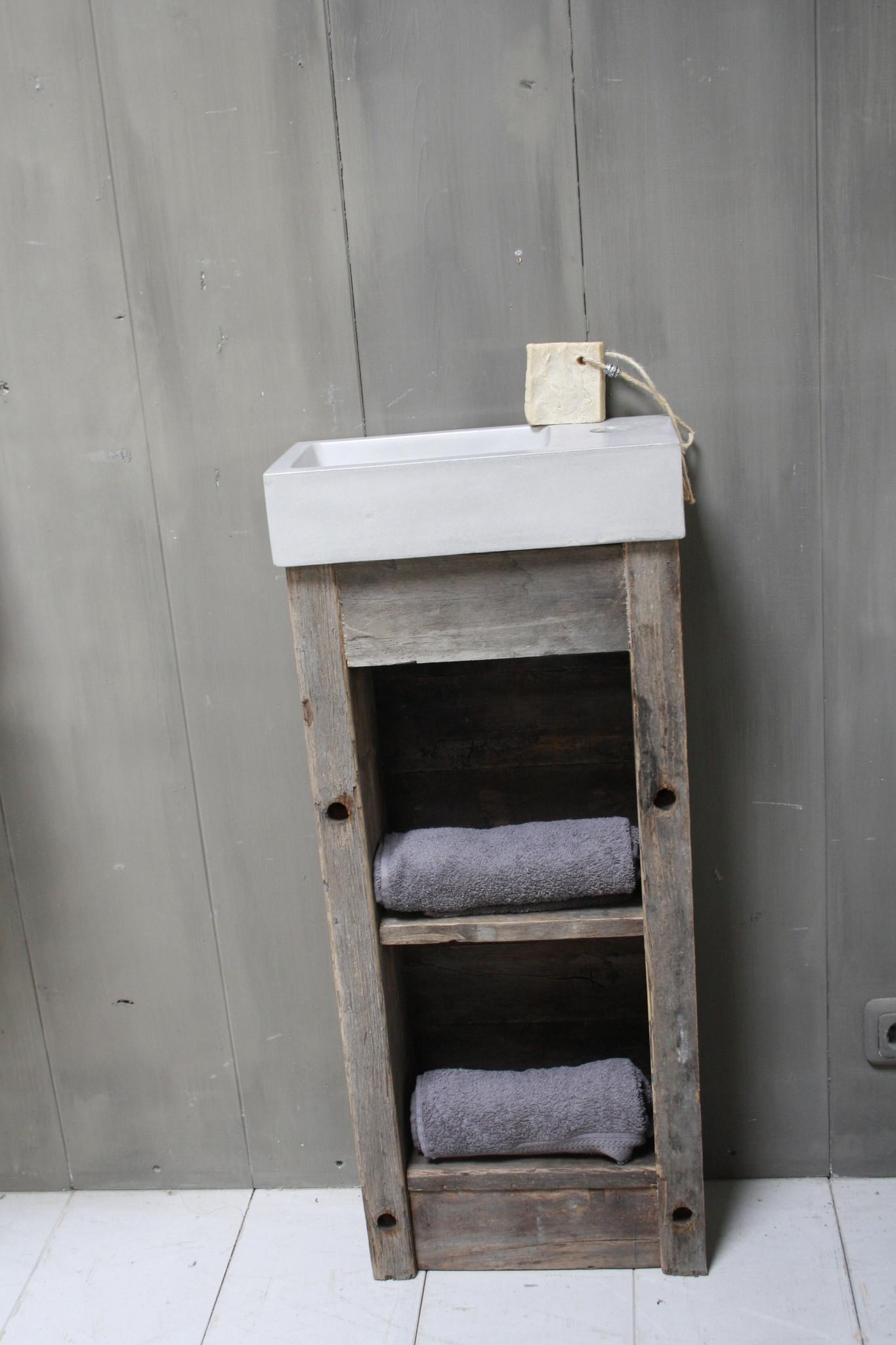 Toiletmeubel oud hout met betonbak  90 cm light grey-2